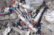 زباله های بیمارستانی در محل دپوی زباله شهرستان ساری در چهاردانگه ؟!!